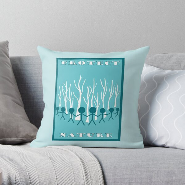 Protect Nature- Blue (Environmentalism) Throw Pillow