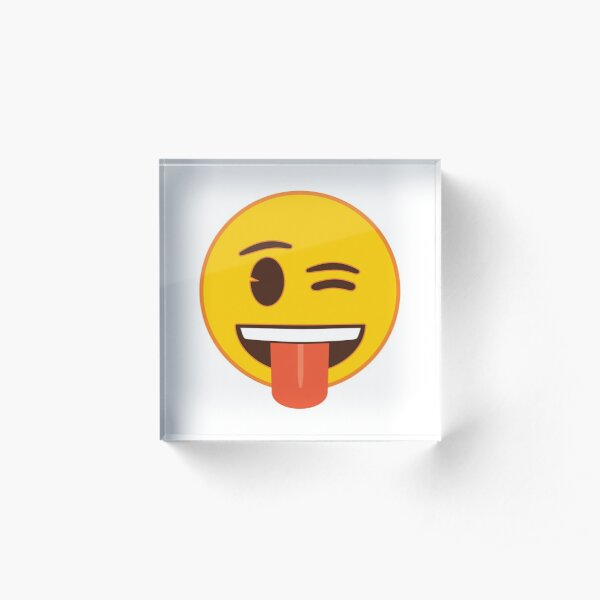 Winking Face with Tongue Out Emoji Acrylic Block