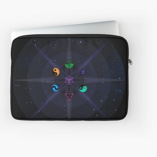 Stars with Colored Universal Principles of Alchemy Symbols Laptop Sleeve