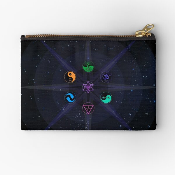 Stars with Colored Universal Principles of Alchemy Symbols Zipper Pouch