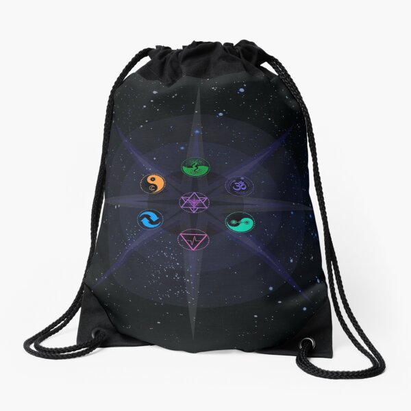 Stars with Colored Universal Principles of Alchemy Symbols Drawstring Bag