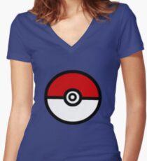 Pokeball Women's Fitted V-Neck T-Shirt