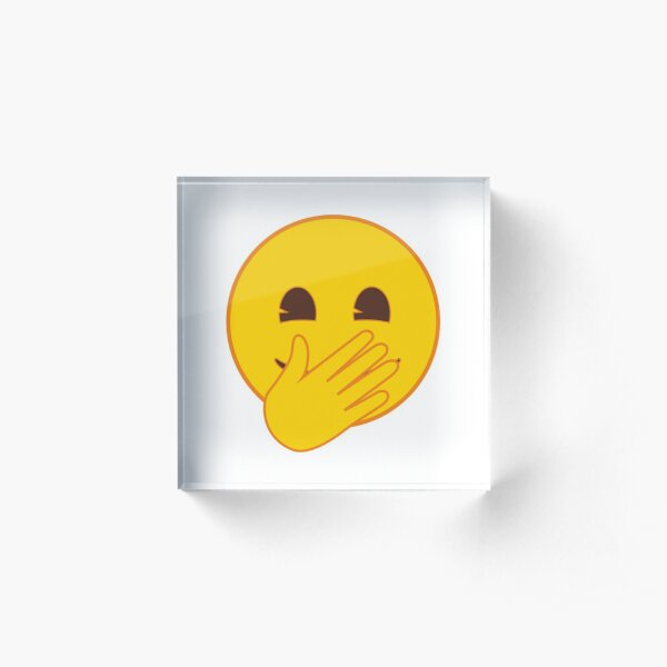 Face with Hand Over Mouth Emoji Acrylic Block