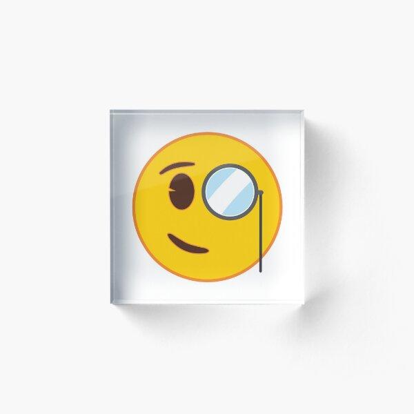 Face with Monocle Emoji Acrylic Block