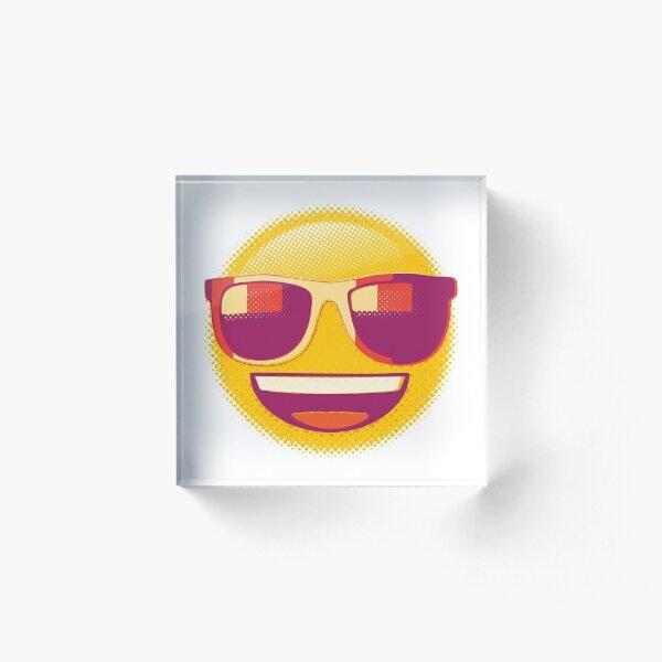 Raster Smiling Face with Sunglasses Emoji Acrylic Block