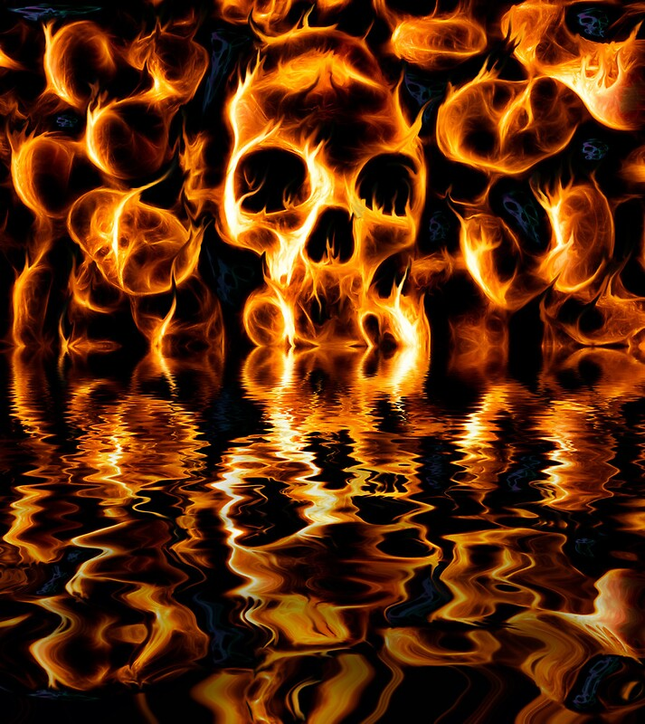 Skulls of fire posters by ian hufton redbubble skulls of fire by ian hufton voltagebd Images