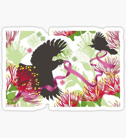 Flying Tuis, Pink Ribbon and Pohutukawas Sticker