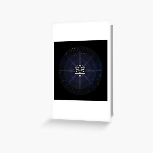 Stars with White Startetrahedron / Merkaba Symbol Greeting Card