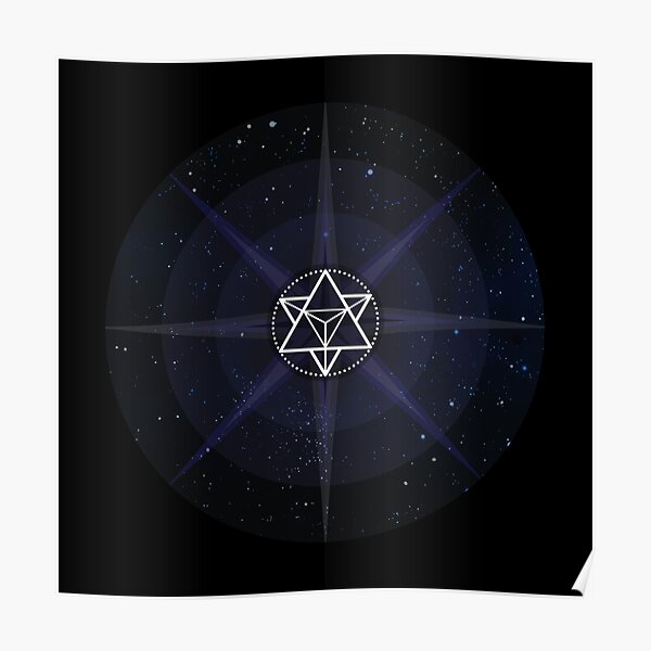 Stars with White Startetrahedron / Merkaba Symbol Poster