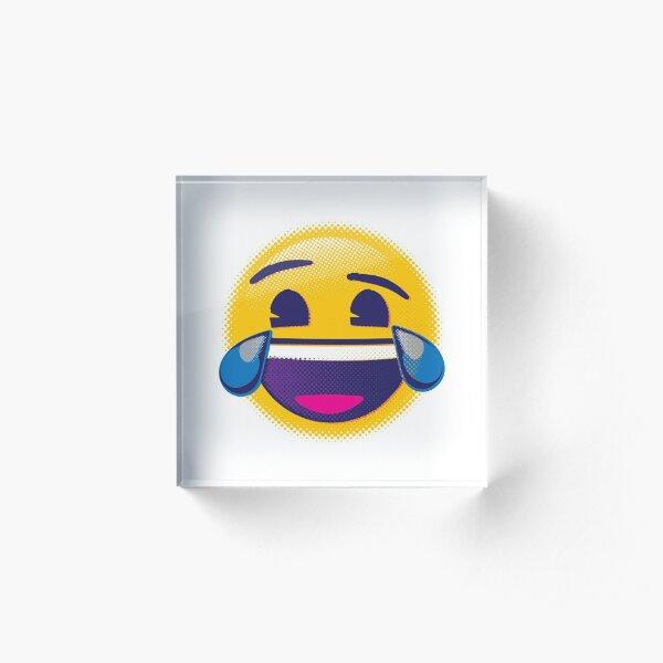 Raster Face with Tears of Joy Emoji Acrylic Block