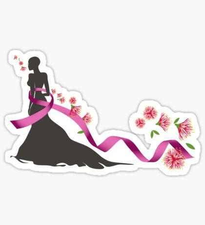 Pink Ribbon with Pohutukawa Sticker