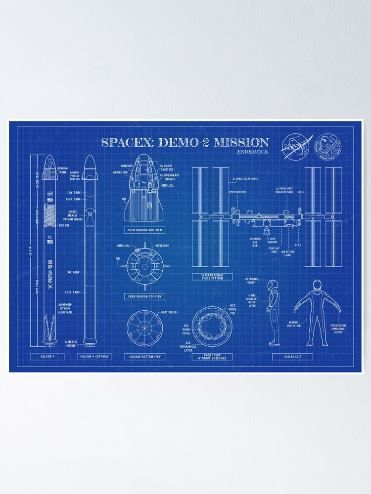 Alternate view of SpaceX & NASA Demo-2 Mission. Falcon 9 - ISS  (Blueprint-English) Poster