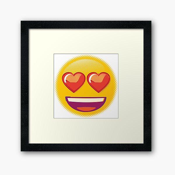 Raster Heart Eyes Emoji Framed Art Print