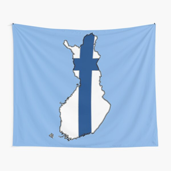 Finland Map With Flag of Finland Tapestry