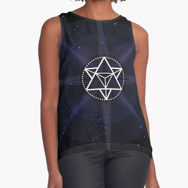 Stars with White Startetrahedron / Merkaba Symbol Sleeveless Top