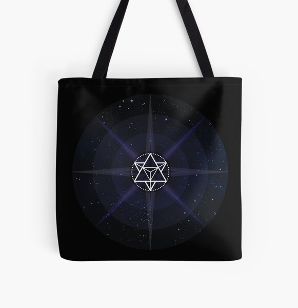Stars with White Startetrahedron / Merkaba Symbol All Over Print Tote Bag
