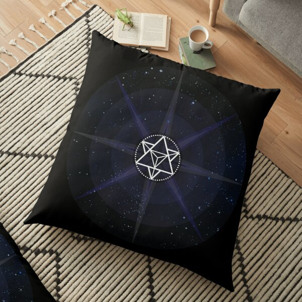 Stars with White Startetrahedron / Merkaba Symbol Floor Pillow