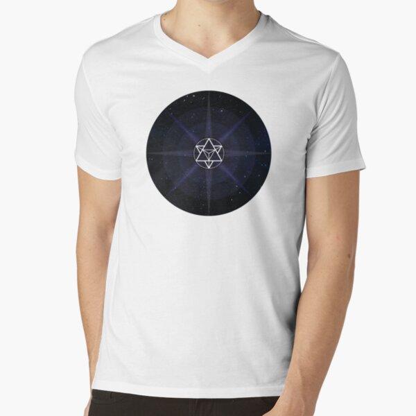 Stars with White Startetrahedron / Merkaba Symbol V-Neck T-Shirt