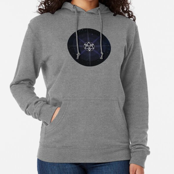 Stars with White Startetrahedron / Merkaba Symbol Lightweight Hoodie