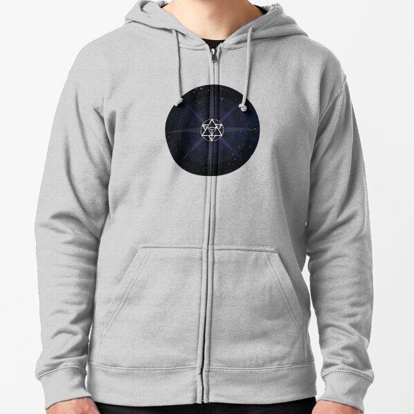 Stars with White Startetrahedron / Merkaba Symbol Zipped Hoodie