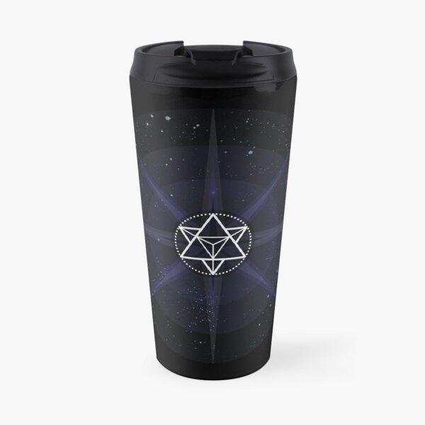Stars with White Startetrahedron / Merkaba Symbol Travel Mug