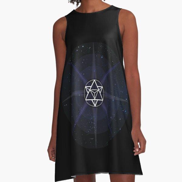 Stars with White Startetrahedron / Merkaba Symbol A-Line Dress