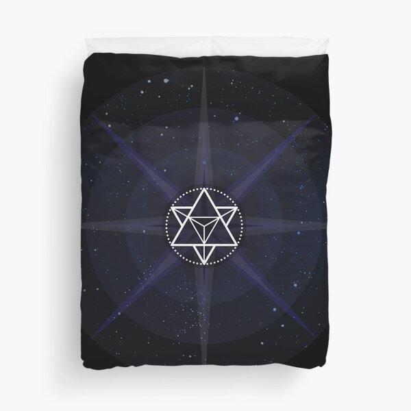 Stars with White Startetrahedron / Merkaba Symbol Duvet Cover