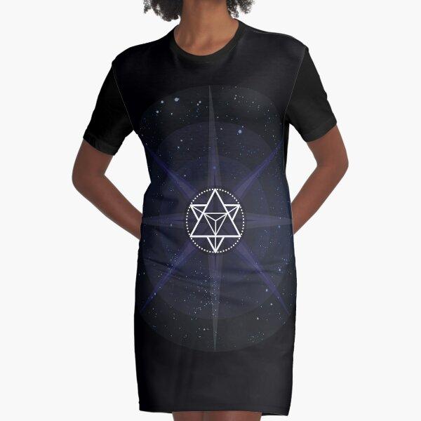 Stars with White Startetrahedron / Merkaba Symbol Graphic T-Shirt Dress