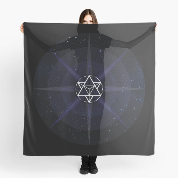 Stars with White Startetrahedron / Merkaba Symbol Scarf