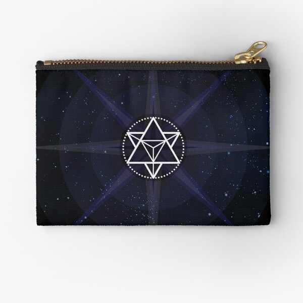 Stars with White Startetrahedron / Merkaba Symbol Zipper Pouch