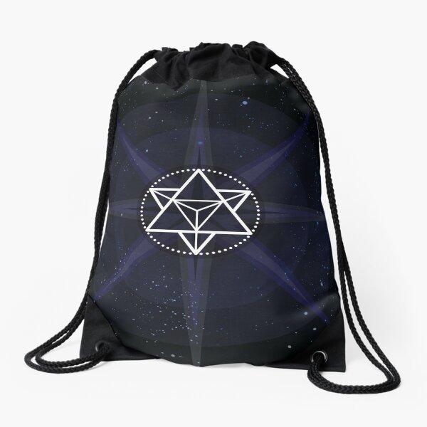 Stars with White Startetrahedron / Merkaba Symbol Drawstring Bag