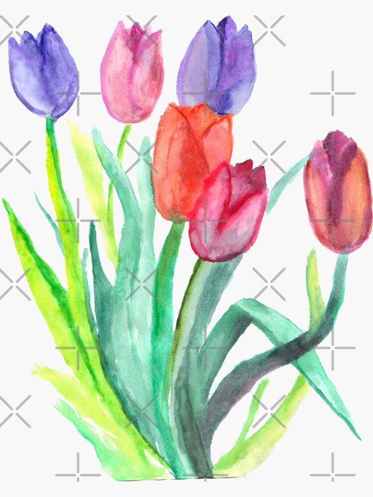 Watercolor Tulips by mynameisliana