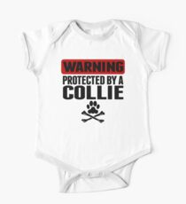 Warning Protected By A Collie One Piece - Short Sleeve
