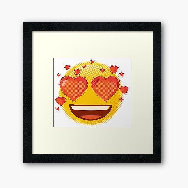 Raster Super Heart Eyes Emoji Framed Art Print