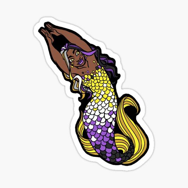 Nonbinary Pride Arms Up Merfolx Sticker