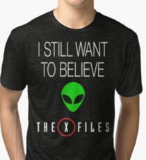X-File Still Want To Believe Alien Head Tri-blend T-Shirt