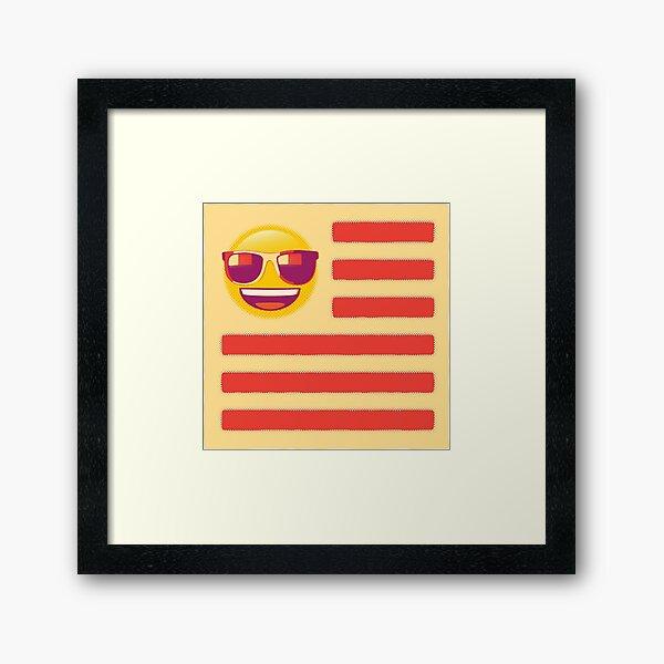 Sunglass Emoji Flag Framed Art Print