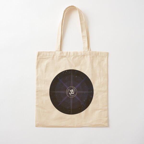 Stars with White Om Sound Symbol Cotton Tote Bag