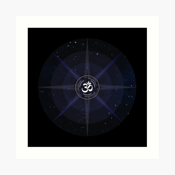 Stars with White Om Sound Symbol Art Print