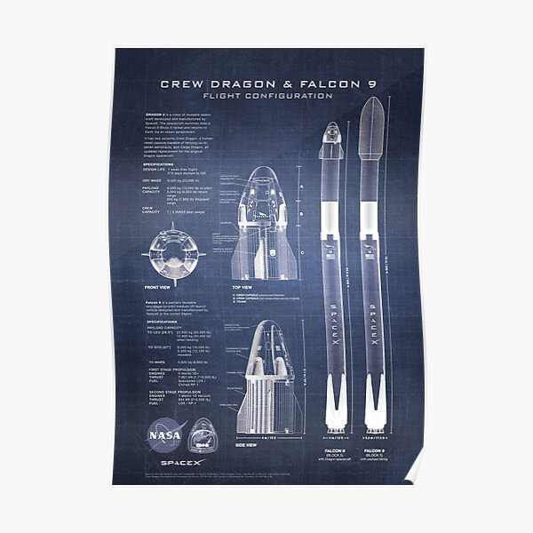 NASA SpaceX Crew Dragon Spaceship & Falcon 9 Rocket Blueprint en haute résolution (bleu foncé) Poster