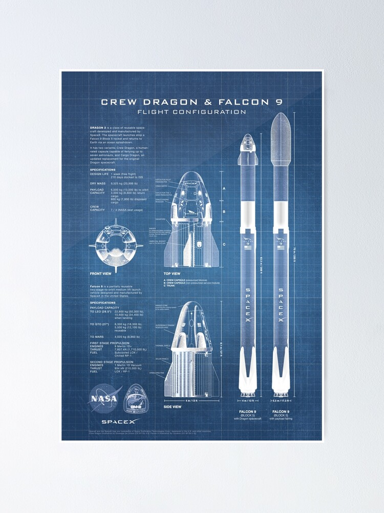 Alternate view of NASA SpaceX Crew Dragon Spacecraft & Falcon 9 Rocket Blueprint in High Resolution (light blue) Poster