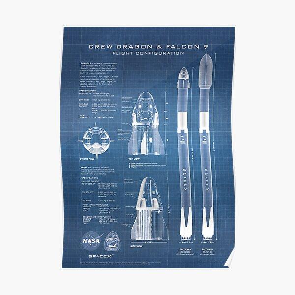 NASA SpaceX Crew Dragon Spacecraft & Falcon 9 Rocket Blueprint in High Resolution (light blue) Poster