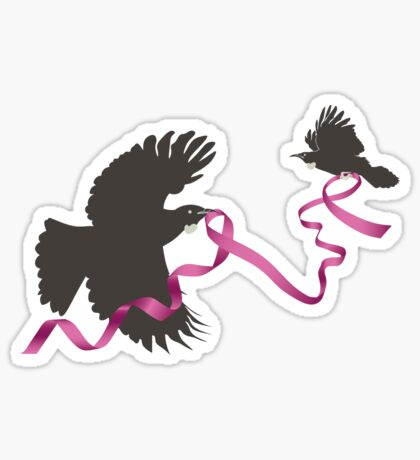 Flying Tui with Pink Ribbon Sticker