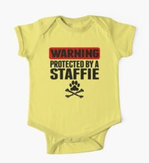 Warning Protected By A Staffie Kids Clothes