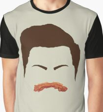 Ron Swanson Bacon Mustache  Graphic T-Shirt
