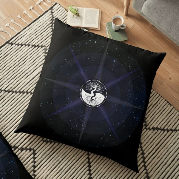 Stars with White Tree of Life Symbol Floor Pillow