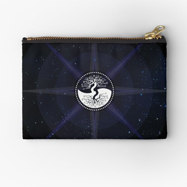 Stars with White Tree of Life Symbol Zipper Pouch
