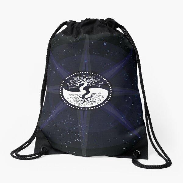 Stars with White Tree of Life Symbol Drawstring Bag