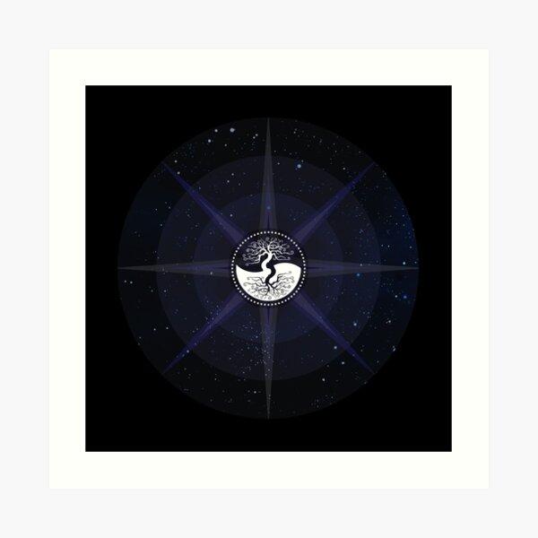 Stars with White Tree of Life Symbol Art Print
