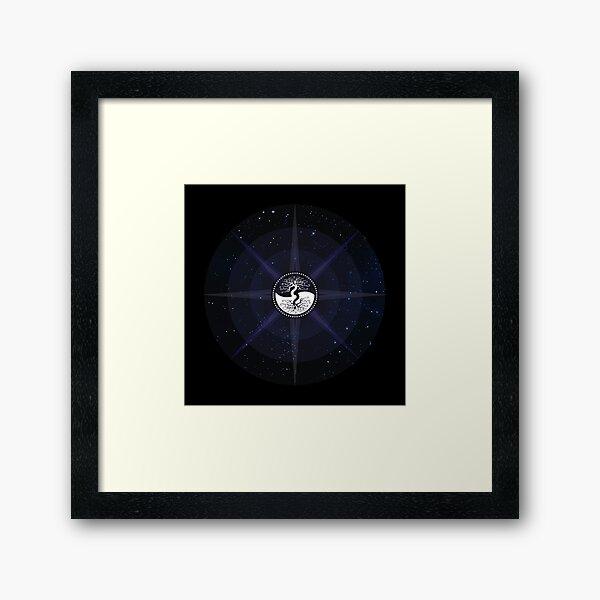 Stars with White Tree of Life Symbol Framed Art Print